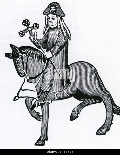 THE CANTERBURY TALES by Geoffrey Chaucer - the Pardoner from an early edition - Stock Image