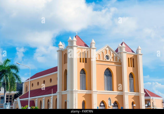 Pietermaai Cathedral or Cathedral of the Queen of the Most Holy Rosary Willemstad Curacao - Stock Image