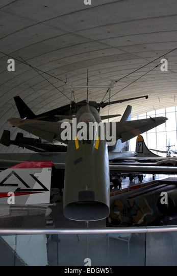 Close up and first level view of the North American Super Sacbre F-100D aircraft, displayed in the AAM, IWM Duxford. - Stock Image