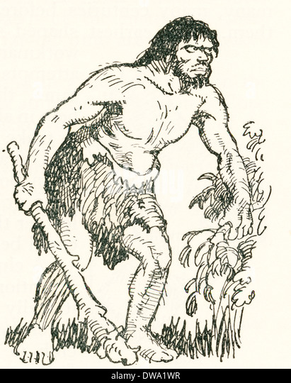 Stone Age man with club.  After a work c.1920 - Stock-Bilder