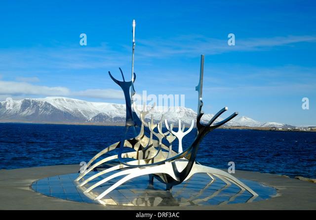Viking ship sculpture, Reykjavik, Iceland - Stock-Bilder