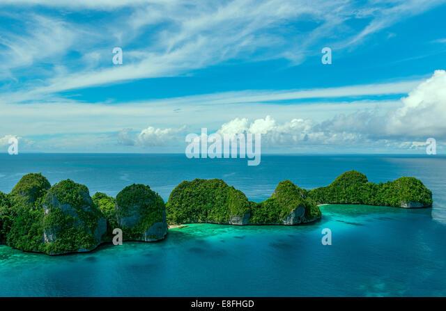 Indonesia, West Papua, Papua, Raja Ampat, Wayag, Small islands on sea - Stock Image