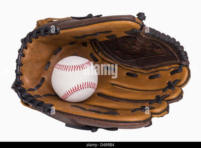 Baseball and baseball glove isolated on white, includes clipping path - Stock Image