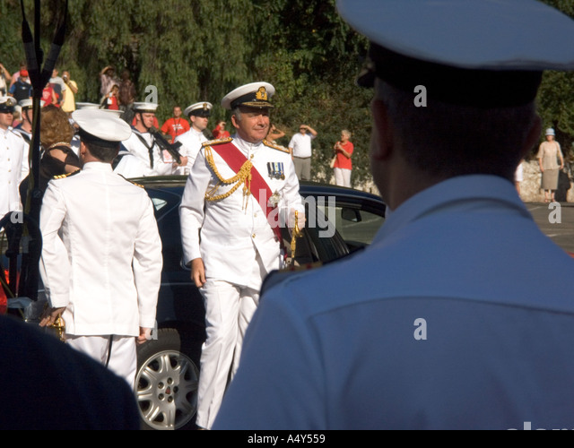 First Sea Lord Admiral Sir Alan West arriving at the Honorary Freedom of the City of Gibraltar Ceremony dignitary - Stock Image