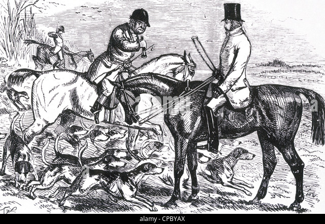 FOXHUNTING engraving about 1850 - Stock-Bilder