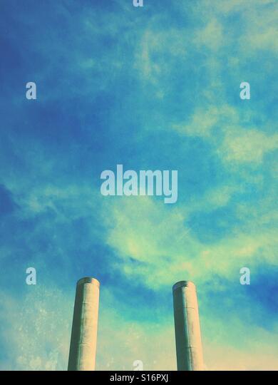 Industrial chimneys - Stock-Bilder