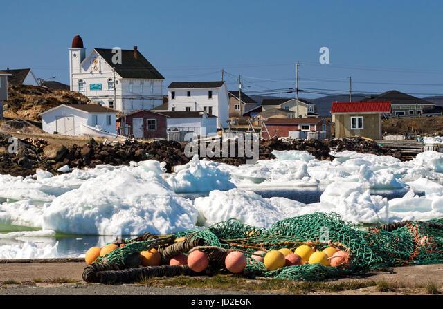 Fishing nets and bouys in Twillingate Harbour - Twillingate, Newfoundland, Canada - Stock Image