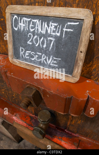 tank door sign on tank 2007 reserve domaine roger sabon chateauneuf du pape rhone france - Stock Image