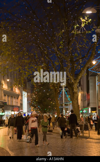 ... Cardiff with Christmas decorations and lights Wales UK - Stock Image
