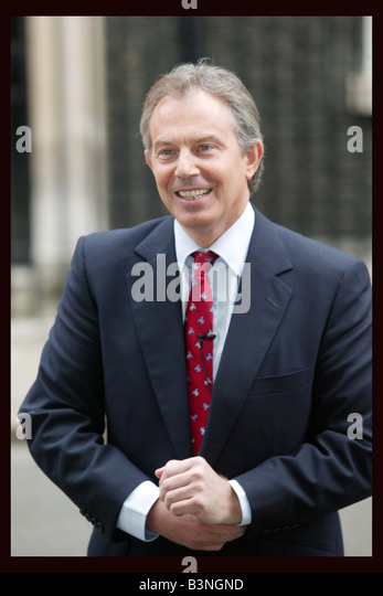 Prime Minister Tony Blair arrives at Downing Street today after meeting with the Queen at Buckingham palace April - Stock Image