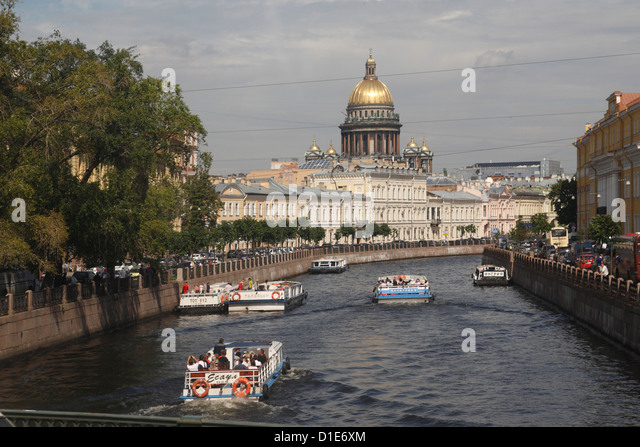 Dome of St. Isaac's Cathedral and canal, St. Petersburg, Russia, Europe - Stock Image