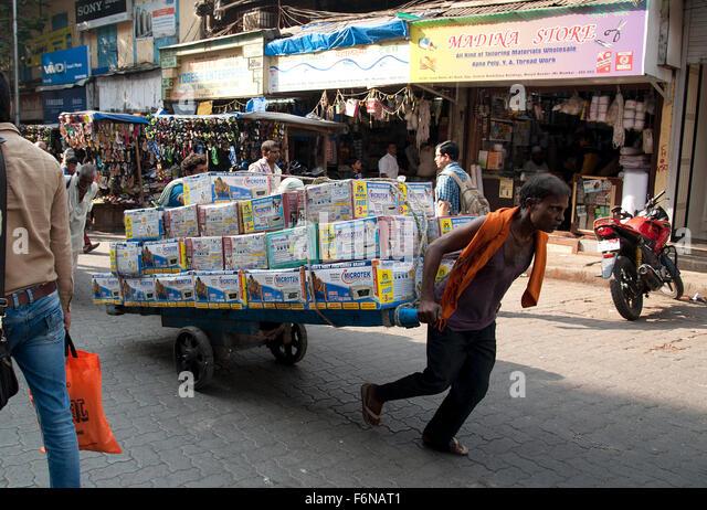 The image of Hand cart Puler in Mumbai, India - Stock Image