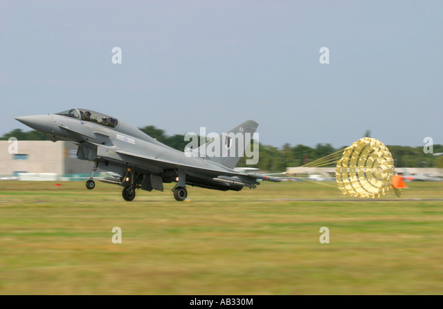 UK Air Force Eurofighter EF-2000 Typhoon T1 deploying its braking parachute after landing - Stock Image