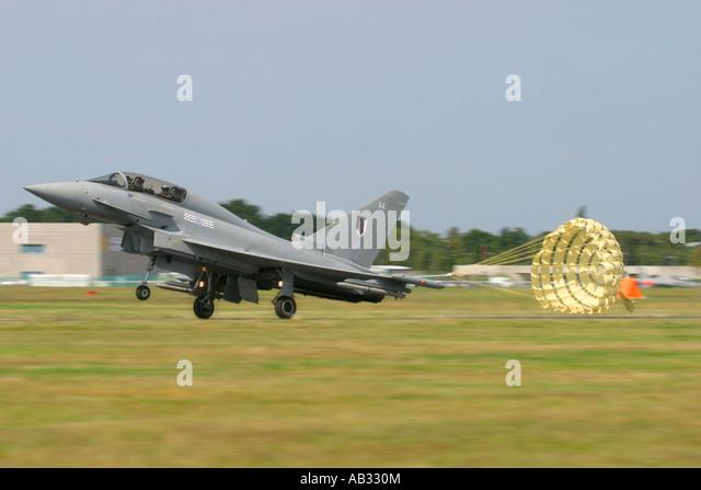 UK Air Force Eurofighter EF-2000 Typhoon T1 deploying its braking parachute after landing - Stock Image