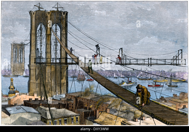 Workmen ascending a mid-air ramp to construct Brooklyn Bridge towers, New York NY, 1870s. - Stock Image