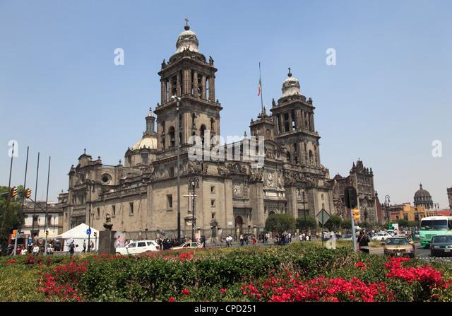 Metropolitan Cathedral, the largest church in Latin America, Zocalo, Plaza de la Constitucion, Mexico City, Mexico - Stock Image