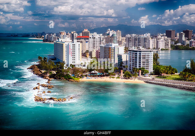 High Angle View of a Shoreline with Hotels and a Beach, Condado, San Juan, Puerto Rico - Stock Image