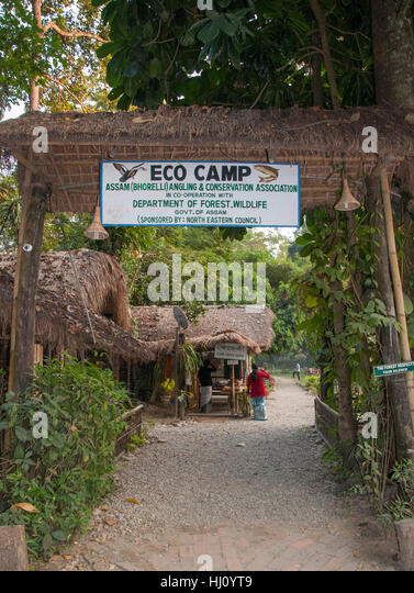 Nameri Eco Camp, a low-impact forest retreat and angling camp on the Jia Bhorelli River in the Assam lowlands of - Stock Image