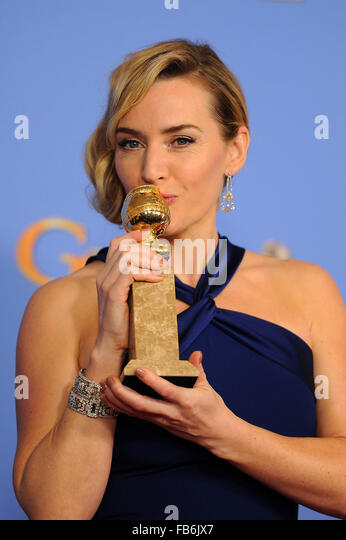 Beverly Hills, CA, USA. 10th Jan, 2016. Actress Kate Winslet, winner of the award for Best Performance by an Actress - Stock Image