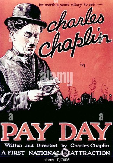 Movie Poster, Pay Day, Starring Charlie Chaplin, 1922 - Stock Image