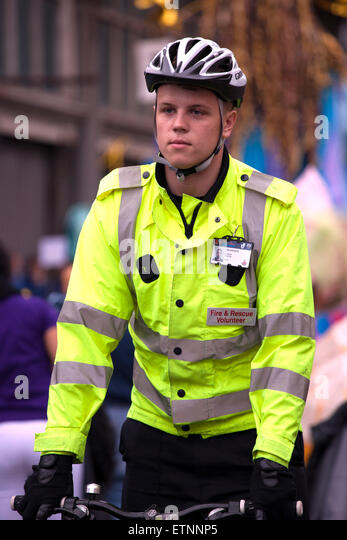Greater Manchester Fire & Rescue service volunteer, UK - Stock Image