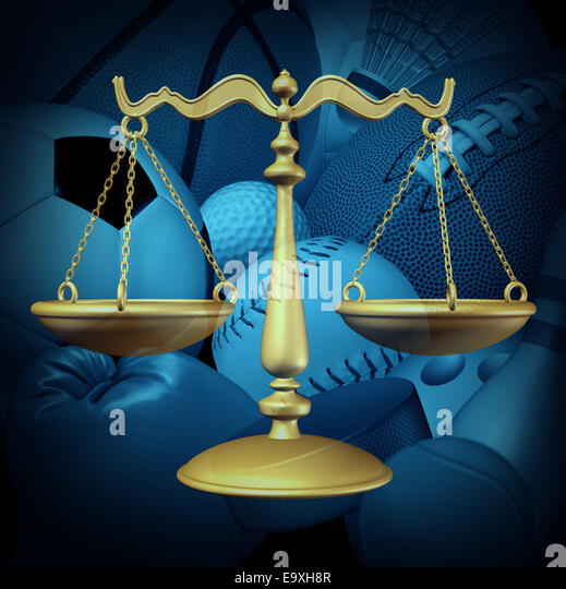 Sports law concept with sport equipment and a legel scale of justice symbol as an icon for amateur and professional - Stock-Bilder