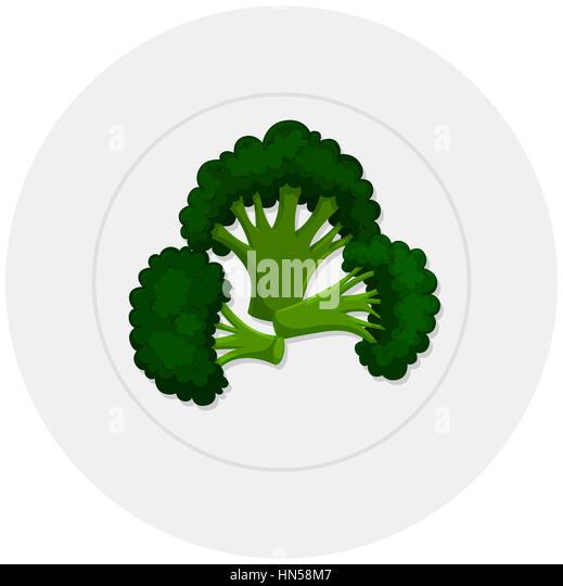 Boiled brocolli on plate illustration - Stock Image