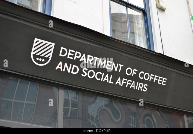 Department of Coffee and Social Affairs coffee house on Leather Lane. - Stock Image