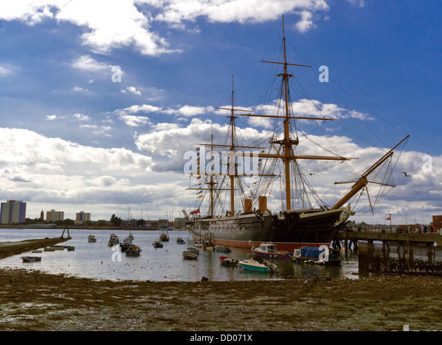HMS Warrior, Victorian warship, Portsmouth, Hampshire, England. Launched in 1860,  she was Britain's first iron - Stock Image