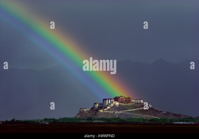 Rainbow over the Potala Palace Lhasa Tibet - Stock Image