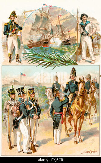 United States Army and Navy uniforms during the War of 1812. - Stock Image