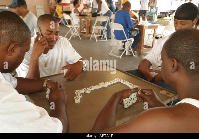 Florida Pembroke Pines built B. Smith Park Jamaican Jerk Festival Jamaica World Championship of Dominoes Black male - Stock Image