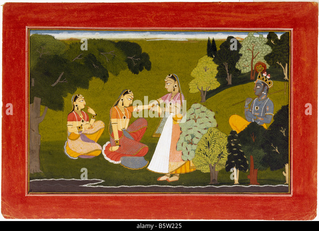 Radha being persuaded to meet Krishna. Gita Govinda painted by Manaku inscribed Basohli. Dated 1730 a.d. Hill school - Stock Image