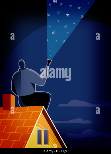 A man looking at the starry sky - Stock Image