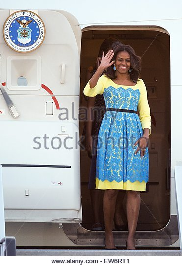 epa04801428 First Lady of the United States, Michelle Obama arrives to London Stansted Airport in London, Britain, - Stock Image