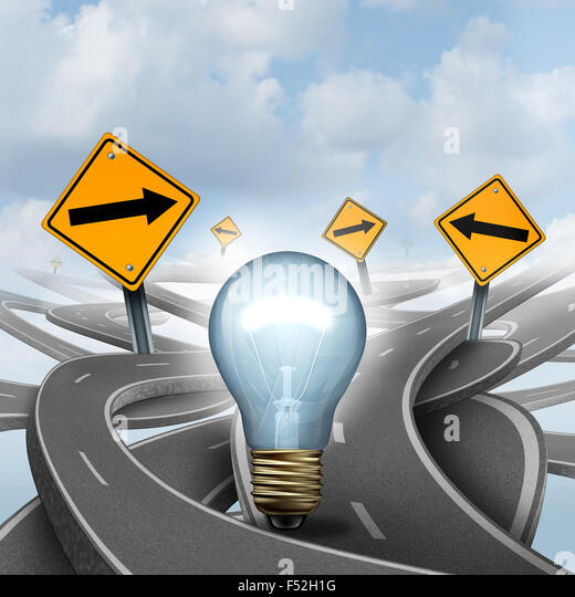 Strategic Ideas concept as a business symbol with a lightbulb or light bulb choosing the right strategic path for - Stock Image