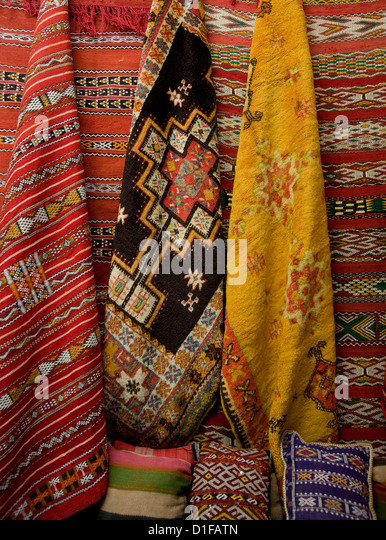 Carpets for sale in the souk in Marrakech, Morocco, North Africa, Africa - Stock Image