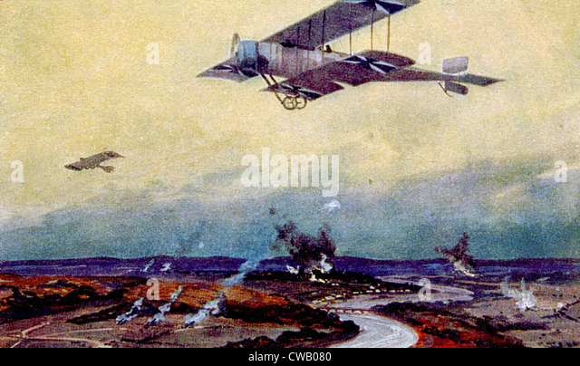 World War I, German biplane on reconnaissance over the Marne, painting by Hans Rudolf Schulze - Stock Image