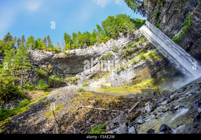 At the bottom of Brandywine Falls, Whistler, Canada - Stock Image