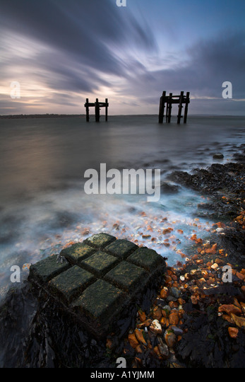 Dawn at Lepe Beach, New Forest National Park - Stock Image