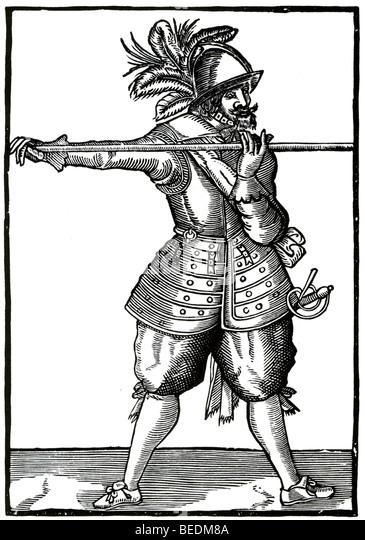 17 CENTURY BRITISH PIKEMAN - Stock Image