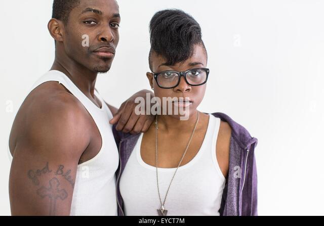 Studio portrait of cool confident couple - Stock-Bilder