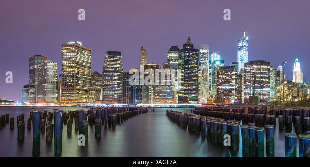 Lower Manhattan skyline from across the East River in New York City. - Stock Image