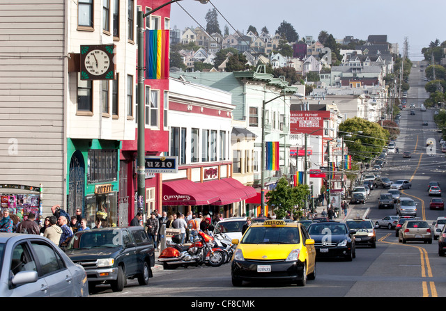 Gay Pride Rainbow Flags Flying in the Wind Over the Castro, San Francisco, California - Stock Image