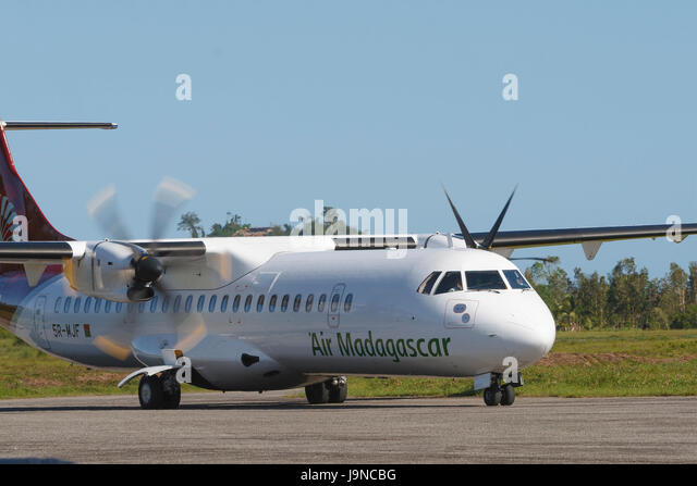 Air Madagascar ATR 72, registration 5R-MJF, taxiing at Maroantsetra Airport, Madagascar. - Stock Image