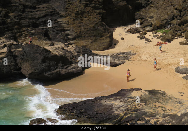 HALONA COVE, Oahu, Hawaii. Locations for several films including the scene in From Here to Eternity with Burt Lancaster - Stock-Bilder