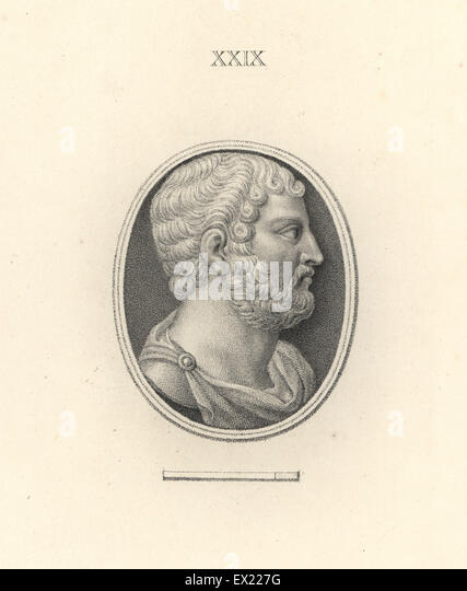 Roman Emperor Hadrian. Copperplate engraving by Francesco Bartolozzi from 108 Plates of Antique Gems, 1860. The - Stock Image