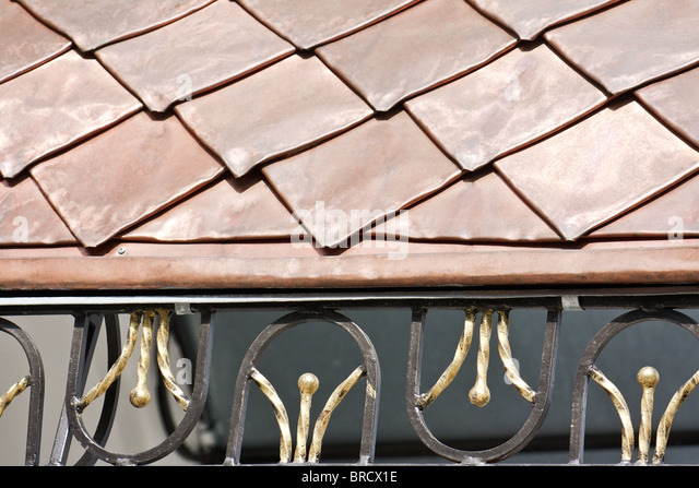 Roof covered with copper plates and decorated with forged grid (the Kiev-Pecherskaya Lavra monastery, Kiev, Ukraine) - Stock-Bilder
