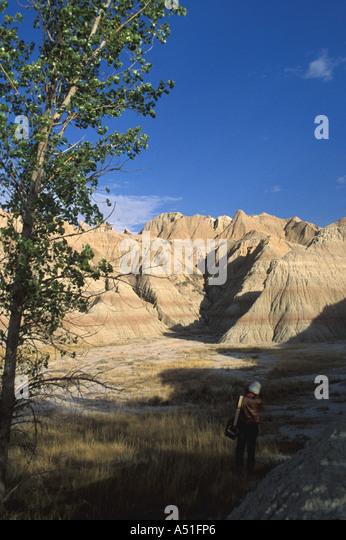 South Dakota Badlands National Park Scenic Loop Road eroded buttes spires geologic formations - Stock Image