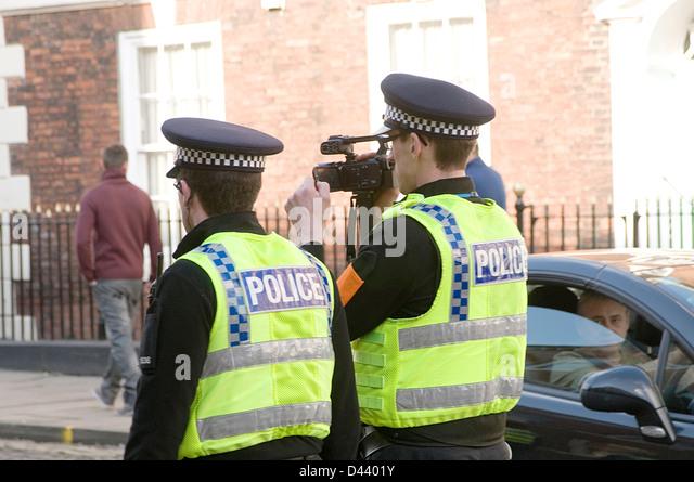 police video surveillance camera data protection big brother state football hooligans hooligan hooliganism uk man - Stock Image